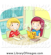 Clip Art of a White Girl Helping a Friend with Math by BNP Design Studio