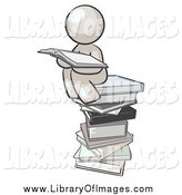 Clip Art of a White Man Reading on a Stack of Books by Leo Blanchette