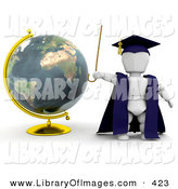 Clip Art of a White Person Teacher in a Cap and Gown, Waving a Cane and Standing by a Globe by KJ Pargeter