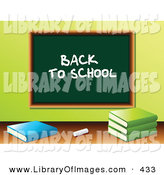 "Clip Art of a White Piece of Chalk and School Books in Front of a Green Chalkboard with ""Back to School"" Written on It in a Class Room by Elaineitalia"