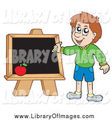 Clip Art of a White School Boy Writing on a Chalkboard by Visekart