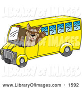 Clip Art of a Wolf Mascot Waving and Driving a School Bus by Toons4Biz