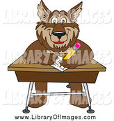 Clip Art of a Wolf Writing on a Desk by Toons4Biz