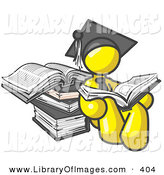 Clip Art of a Yellow Male Student in a Graduation Hat, Reading a Book and Leaning Against a Stack of Books by Leo Blanchette