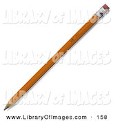 Clip Art of a Yellow No 2 Pencil with a Pink Eraser by Leo Blanchette