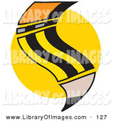 Clip Art of a Yellow Number 2 School Pencil with an Eraser on a Yellow Circle by Andy Nortnik
