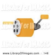 Clip Art of a Yellow Pencil by a School Pencil Sharpener by Rasmussen Images