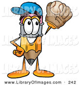 Clip Art of a Yellow Pencil Mascot Cartoon Character Catching a Baseball with a Glove by Toons4Biz