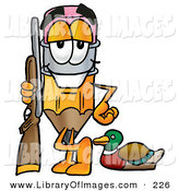 Clip Art of a Yellow Pencil Mascot Cartoon Character Duck Hunting, Standing with a Rifle and Duck by Toons4Biz