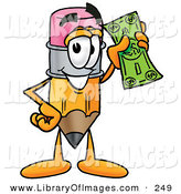 Clip Art of a Yellow Pencil Mascot Cartoon Character Holding a Dollar Bill by Toons4Biz