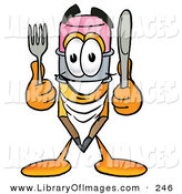Clip Art of a Yellow Pencil Mascot Cartoon Character Holding a Knife and Fork by Toons4Biz
