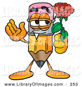 Clip Art of a Yellow Pencil Mascot Cartoon Character Holding a Red Rose on Valentines DayYellow Pencil Mascot Cartoon Character Holding a Red Rose on Valentines Day by Toons4Biz