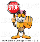 Clip Art of a Yellow Pencil Mascot Cartoon Character Holding a Stop Sign by Toons4Biz