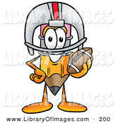 Clip Art of a Yellow Pencil Mascot Cartoon Character in a Helmet, Holding a Football by Toons4Biz
