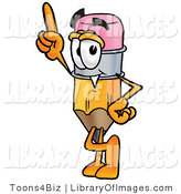 Clip Art of a Yellow Pencil Mascot Cartoon Character Pointing Upwards by Toons4Biz