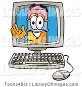 Clip Art of a Yellow Pencil Mascot Cartoon Character Waving from Inside a Computer Screen by Toons4Biz