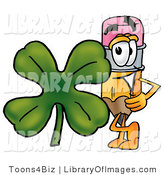 Clip Art of a Yellow Pencil Mascot Cartoon Character with a Green Four Leaf Clover on St Paddy's or St Patricks Day by Toons4Biz