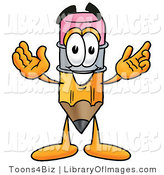 Clip Art of a Yellow Pencil Mascot Cartoon Character with Welcoming Open Arms by Toons4Biz