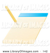 Clip Art of a Yellow Pencil Writing on a Notepad School by Rasmussen Images