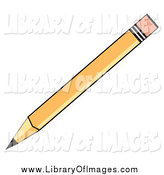 Clip Art of a Yellow School Pencil with an Eraser Tip by Andy Nortnik