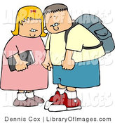 Clip Art of a Young Brother and Sister on Their Way to Elementary School by Djart
