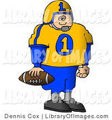 Clip Art of a Young Male College Football Player Standing with a Football in His Hand by Djart
