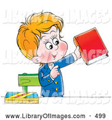Clip Art of a Young School Boy in His Uniform, Standing and Holding a Book by Alex Bannykh