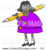 February 19th, 2013: Clip Art of an African American Lady in a Purple Dress, Carrying a Giant Yellow Pencil over Her Shoulder by Djart