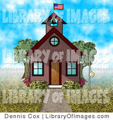 Clip Art of an American Schoolhouse on a Spring Day by Djart