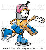 Clip Art of an Athletic Pencil Mascot Cartoon Character Playing Ice Hockey by Toons4Biz