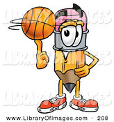 Clip Art of an Athletic Pencil Mascot Cartoon Character Spinning a Basketball on His Finger by Toons4Biz