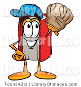 Clip Art of an Athletic Red Book Mascot Cartoon Character Catching a Baseball with a Glove by Toons4Biz