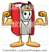 Clip Art of an Athletic Red Book Mascot Cartoon Character Flexing His Arm Muscles by Toons4Biz