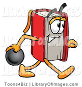 Clip Art of an Athletic Red Book Mascot Cartoon Character Holding a Bowling Ball by Toons4Biz