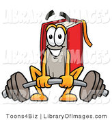 Clip Art of an Athletic Red Book Mascot Cartoon Character Lifting a Heavy Barbell by Toons4Biz