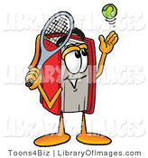 Clip Art of an Athletic Red Book Mascot Cartoon Character Preparing to Hit a Tennis Ball by Toons4Biz