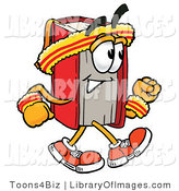 Clip Art of an Athletic Red Book Mascot Cartoon Character Speed Walking or Jogging by Toons4Biz