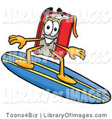 Clip Art of an Athletic Red Book Mascot Cartoon Character Surfing on a Blue and Yellow Surfboard by Toons4Biz