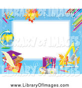 Clip Art of an Educational Border with Leaves, Pencils, and Other School Objects Around White Space by Alex Bannykh