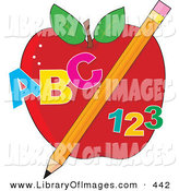 Clip Art of an Educational Red Apple with a Yellow Pencil, Abc and 123 on White by Maria Bell