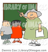 Clip Art of an Elderly Female Elementary School Teacher Teaching Students in a Classroom on a Chalkboard by Djart