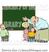 Clip Art of an Elementary Male School Teacher Explaining His Lesson to Students in Front of a Chalkboard by Djart