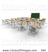 Clip Art of an Empty White School Classroom with Single Student Desks with Wooden Tops, Facing a Chalkboard by KJ Pargeter