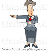 Clip Art of an Executive Woman Pointing a Pointer Stick and Gesturing Towards Her Right by Djart