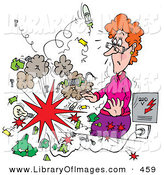 Clip Art of an Explosion Shocking a Female Science Teacher by Alex Bannykh