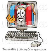 Clip Art of an Intelligent Red Book Mascot Cartoon Character Waving from Inside a Computer Screen by Toons4Biz