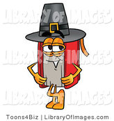 Clip Art of an Old Fashioned Red Book Mascot Cartoon Character Wearing a Pilgrim Hat on Thanksgiving by Toons4Biz