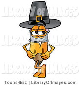 Clip Art of an Old Fashioned Yellow Pencil Mascot Cartoon Character Wearing a Pilgrim Hat on Thanksgiving by Toons4Biz