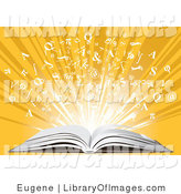 Clip Art of an Open Book and Letters by Eugene
