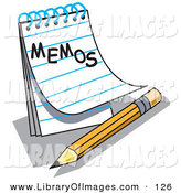 "Clip Art of an Open Notepad with Lined Pages with ""Memos"" Written on the Front, Resting by a Yellow Number Two Pencil with an Eraser by Andy Nortnik"